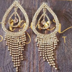 Double teardrop fringe earrings